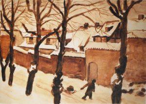 Bild, Karl Christian Klasen, An der Mauer im Schnee Güstrow