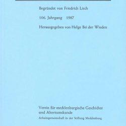 Mecklenburgische Jahrbücher - 106. Jahrgang, 1987