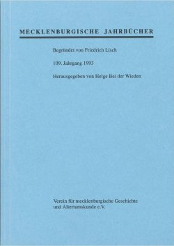 Mecklenburgische Jahrbücher - 109. Jahrgang, 1993