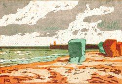Helene Dolberg, Einsamer Strand, Linolschnitt, um 1920
