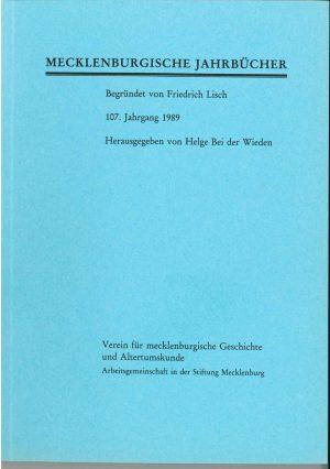Mecklenburgische Jahrbücher 107 (1989)